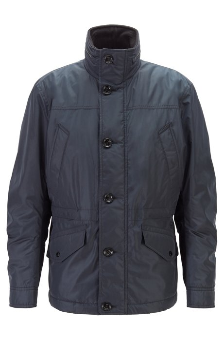 Water-repellent quilted field jacket with packable hood, Dark Blue