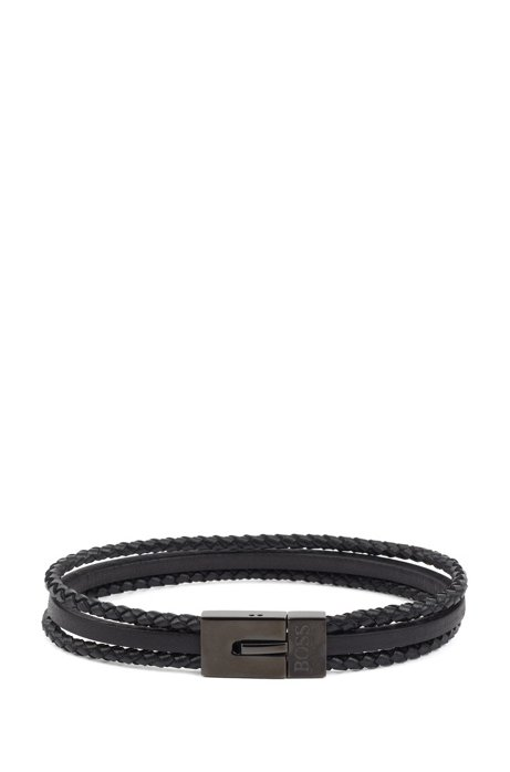 Multi-wrap leather cuff with magnetic closure, Black
