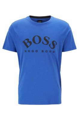 Crew-neck T-shirt with embroidered-effect curved logo, Blue