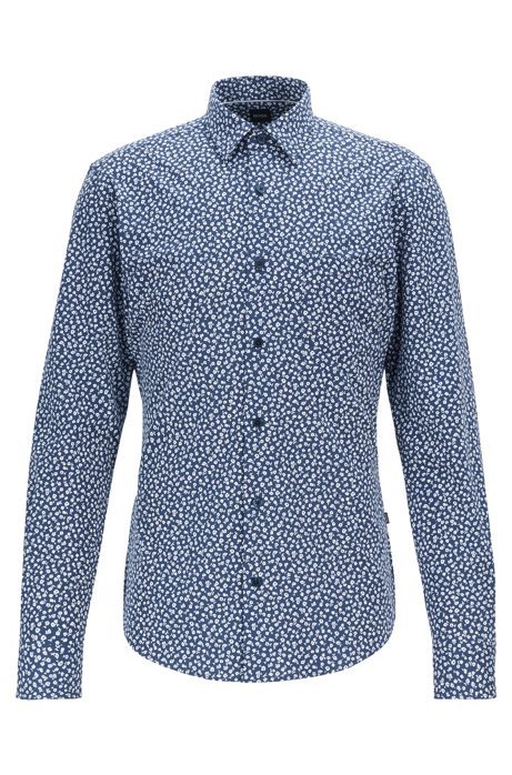 Slim-fit shirt in floral-print stretch jersey, Dark Blue