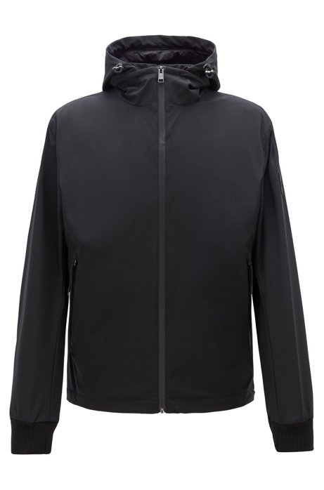 Water-repellent three-in-one jacket with detachable hood, Black