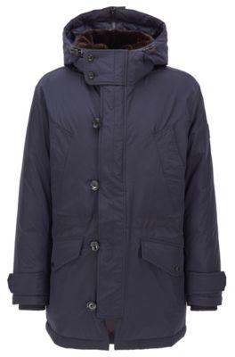 Regular-fit parka jacket in water-repellent fabric, Dark Blue