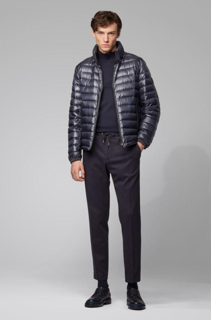 Regular-fit water-repellent jacket with stand collar