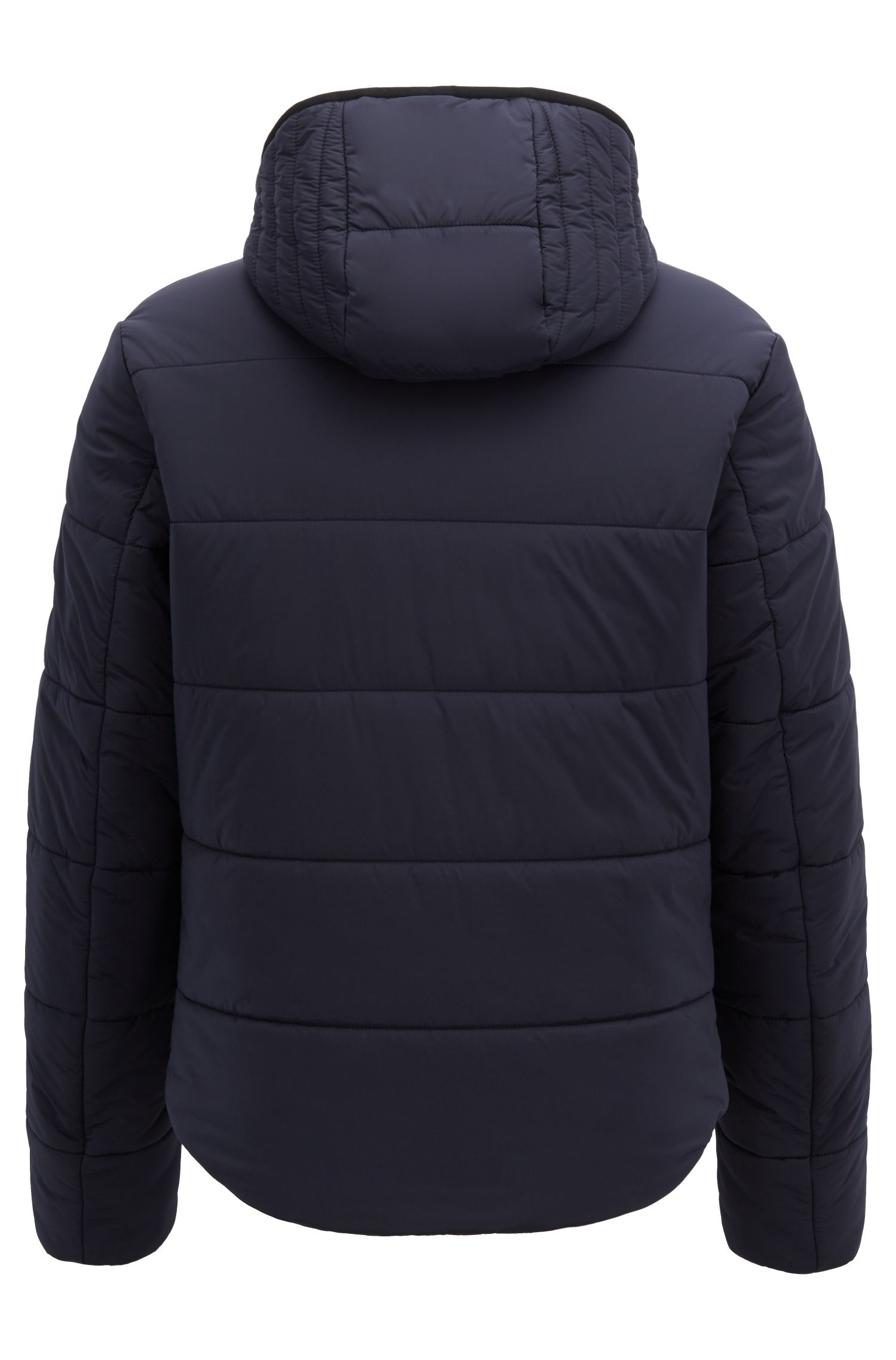 Water-repellent hooded jacket in stretch technical fabric, Open Blue