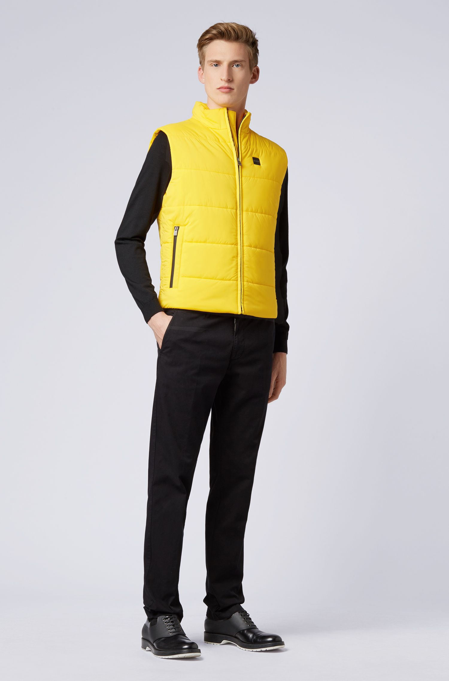 Zip-through gilet in water-repellent stretch fabric, Light Yellow