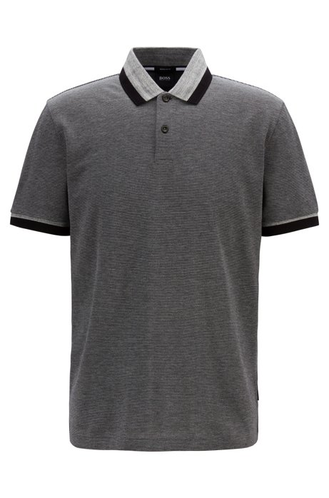 Regular-fit polo shirt with mouliné stripe, Silver