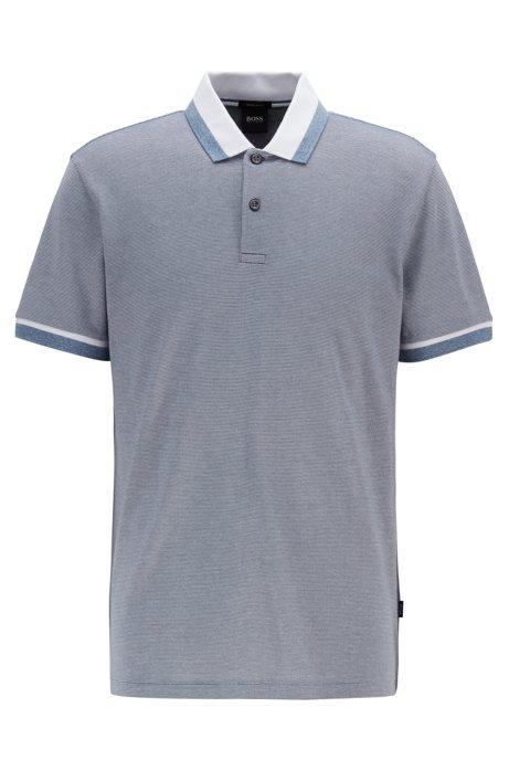 Regular-fit polo shirt with mouliné stripe, Open Blue