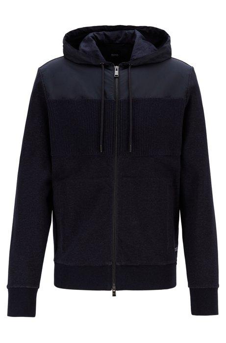 Regular-fit sweatshirt with a zip-through front, Dark Blue
