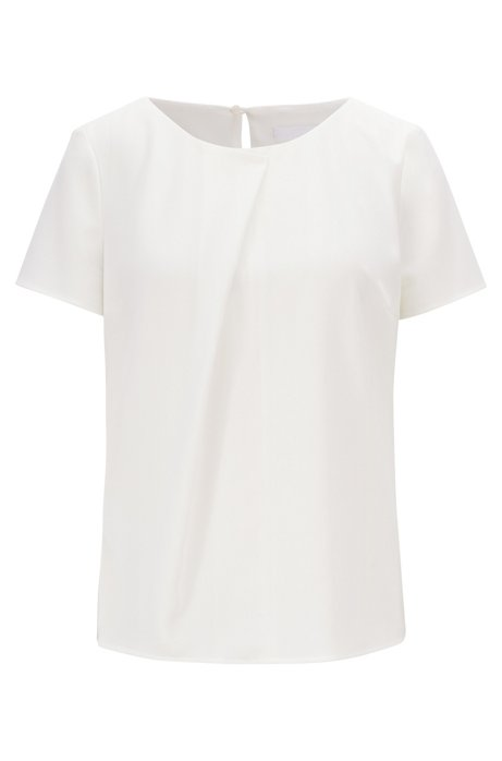 Short-sleeved top in crinkle crepe with pleated front, Natural