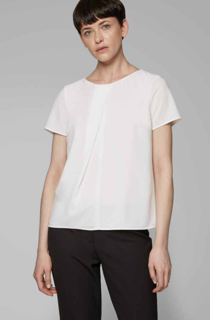 Short-sleeved top in crinkle crepe with pleated front