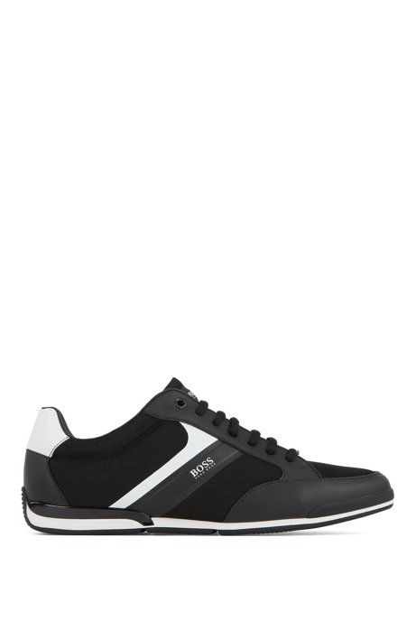 Low-top sneakers with mesh and rubberized details, Black