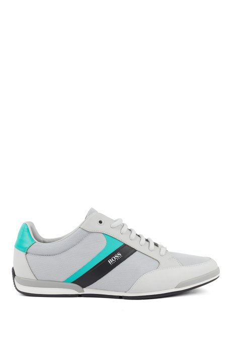 Low-top sneakers with mesh and rubberized details, Light Grey
