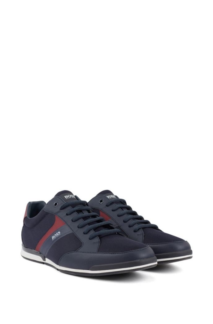 Low-top sneakers with mesh and rubberized details