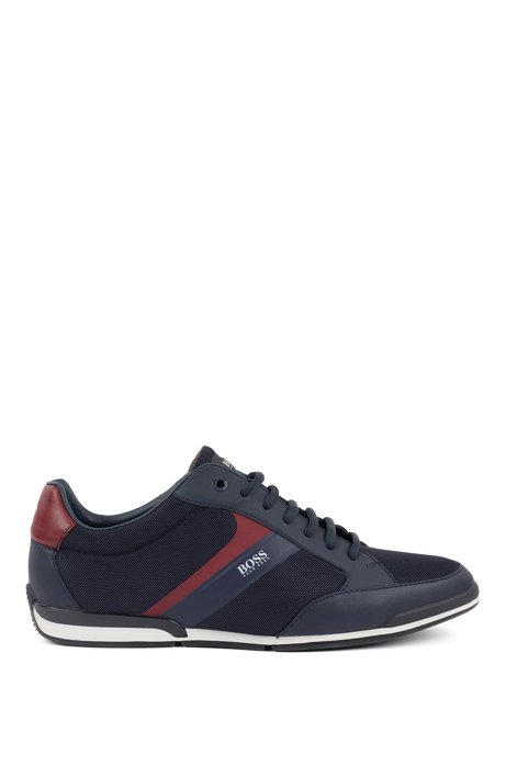 Low-top sneakers with mesh and rubberized details, Dark Blue