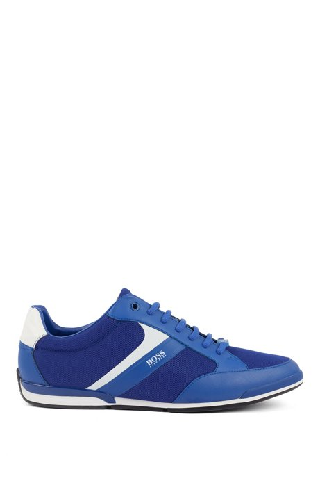 Low-top sneakers with mesh and rubberized details, Blue