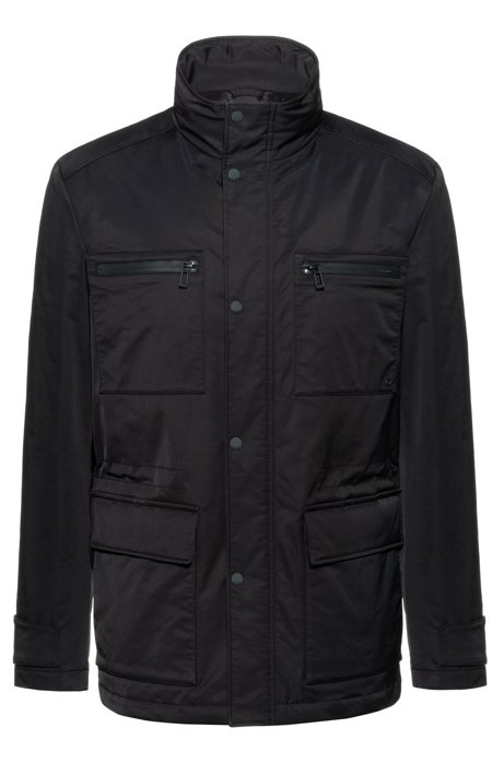 Slim-fit field jacket in wadded water-repellent fabric, Black
