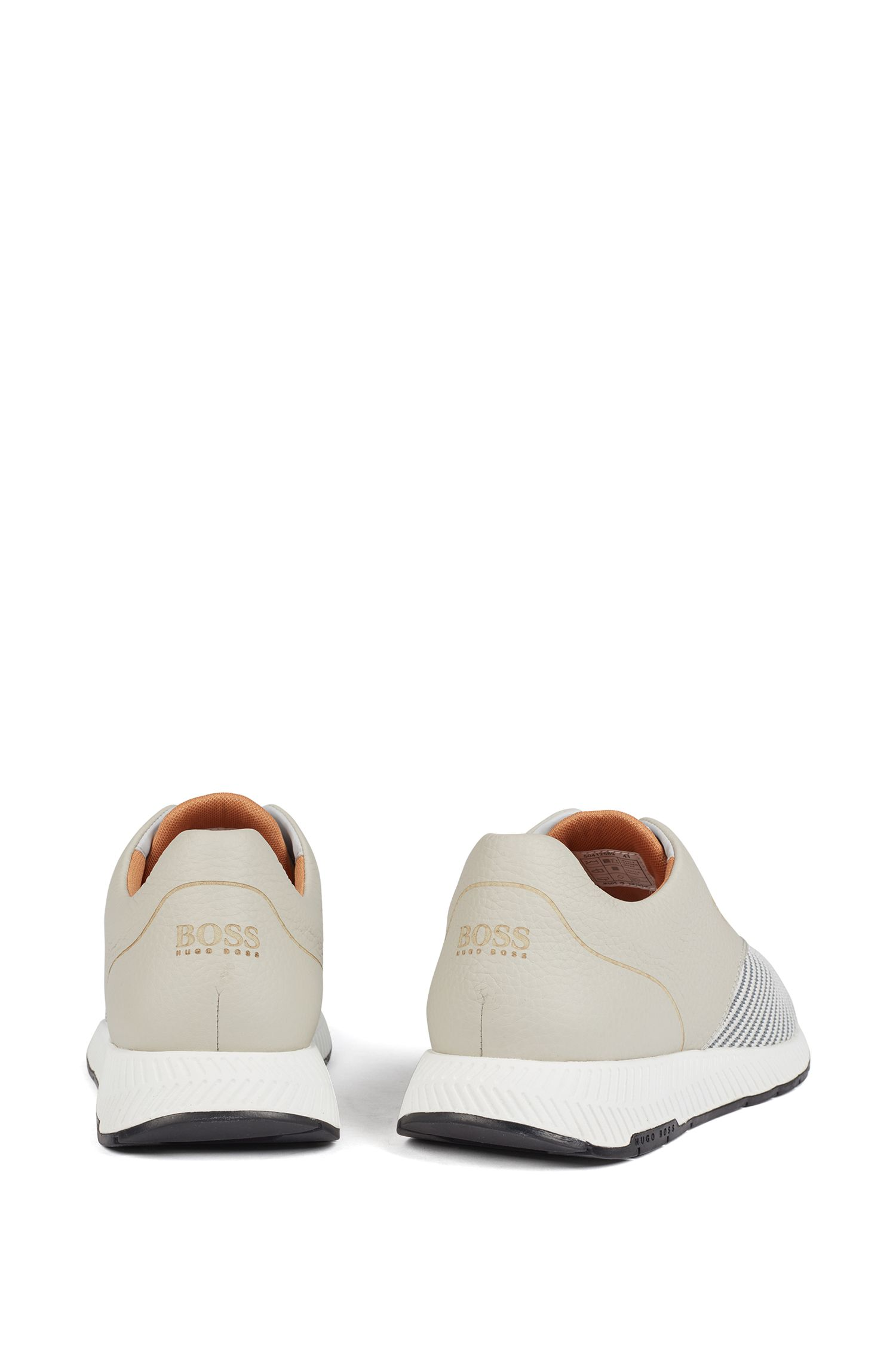 Low-top sneakers in leather and S.Café® fabric, Light Beige