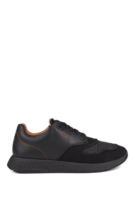 Two-tone sneakers in knitted fabric and grained leather, Black