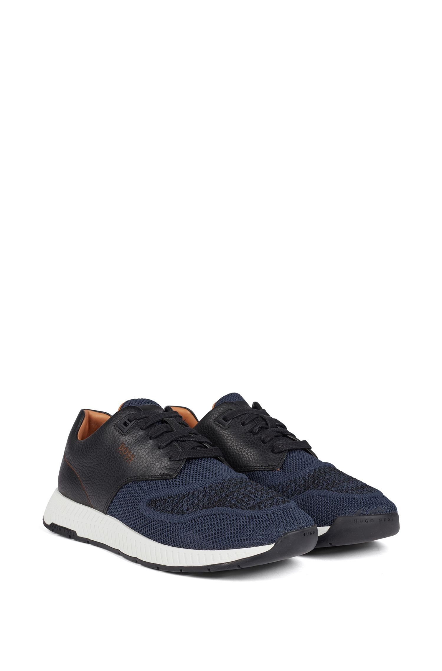 Two-tone sneakers in knitted fabric and grained leather, Dark Blue