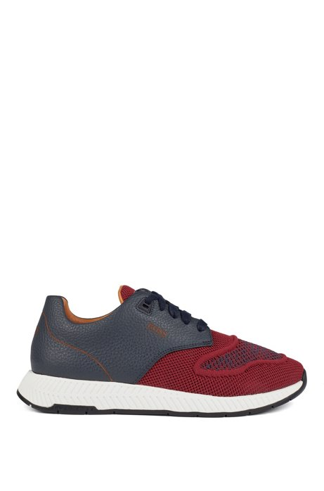 Two-tone sneakers in knitted fabric and grained leather, Dark Red