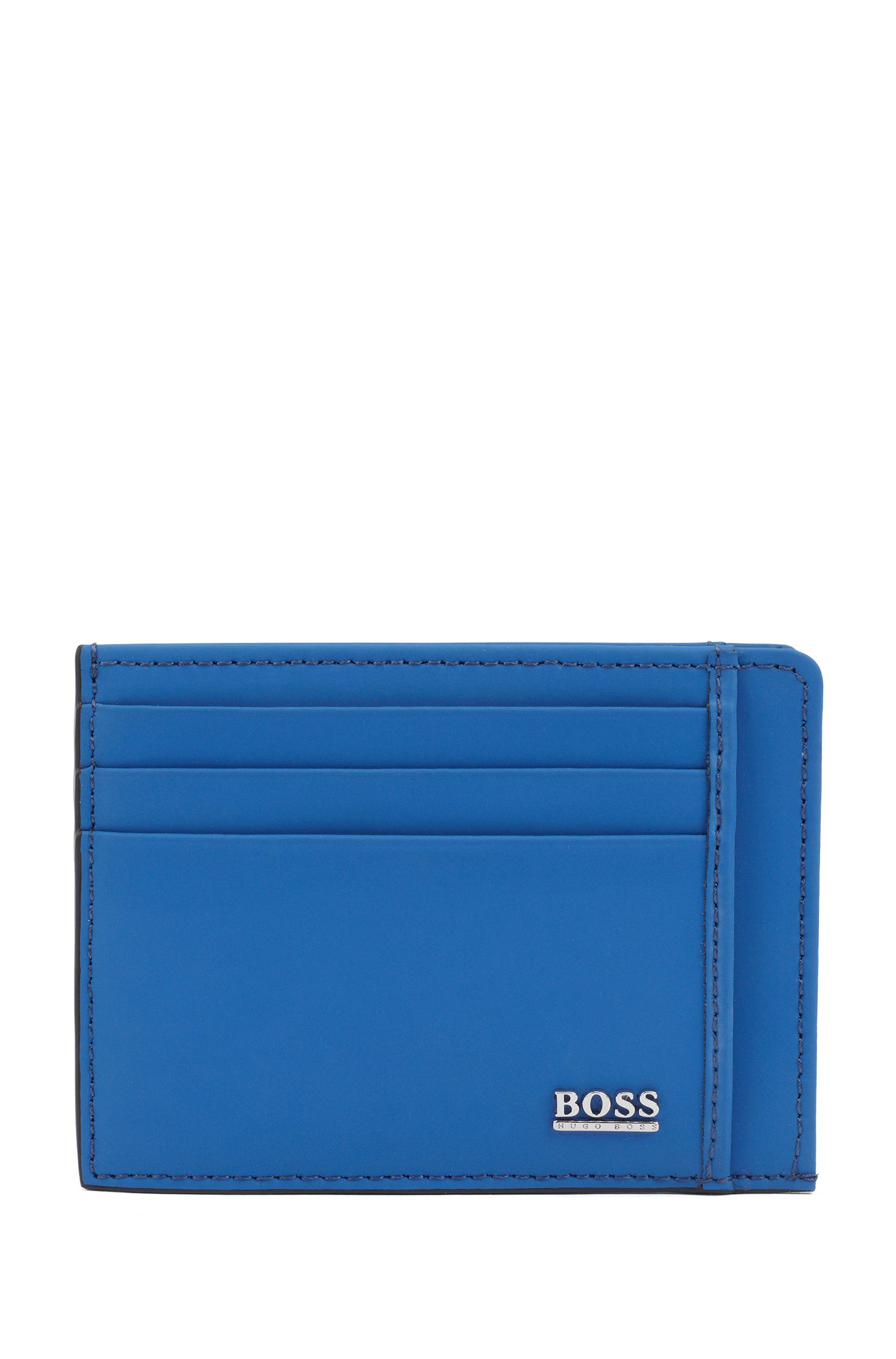 Signature Collection card holder in rubberized Italian leather, Turquoise