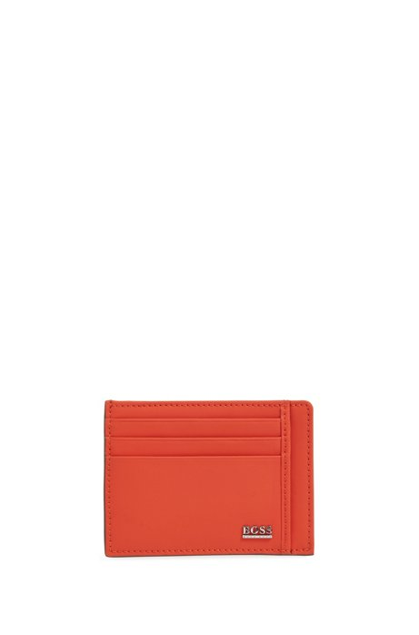 Signature Collection card holder in rubberized Italian leather, Orange
