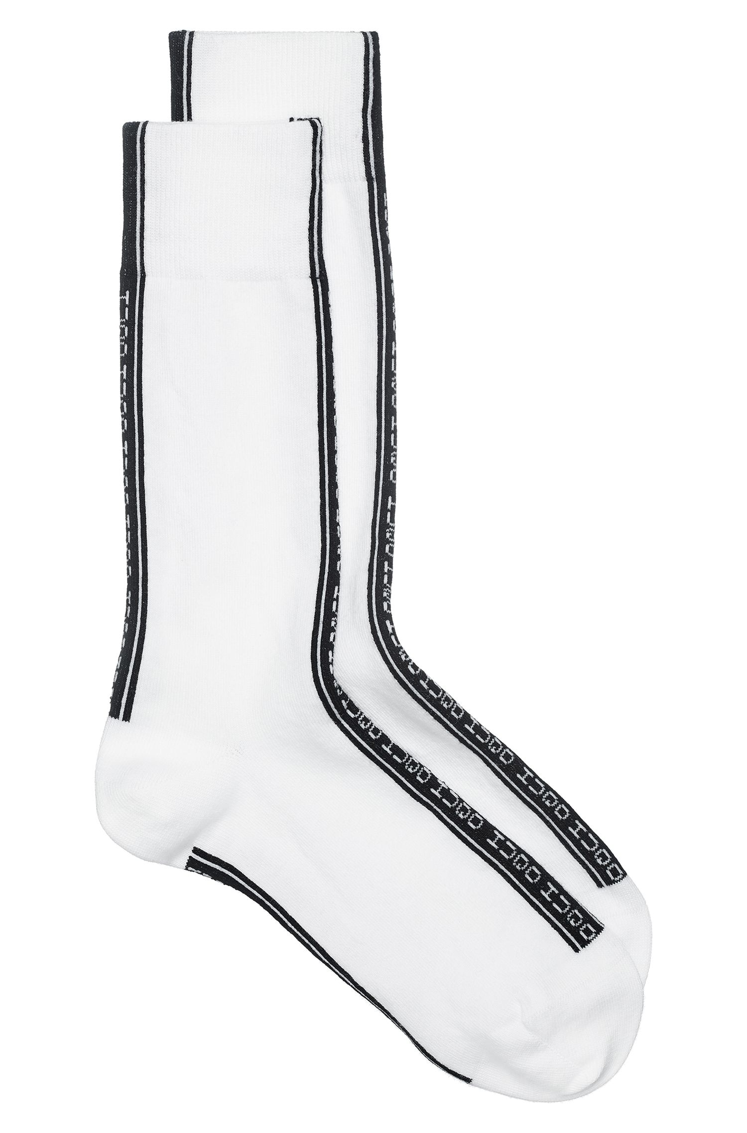 Regular-length socks with reverse-logo tape, White