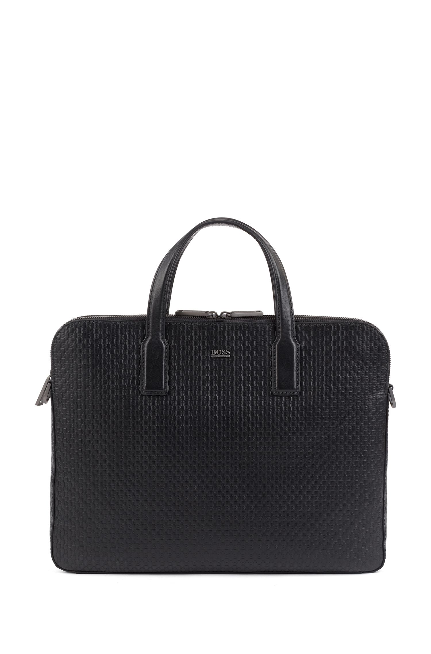 Document case in monogram-printed Italian leather, Black