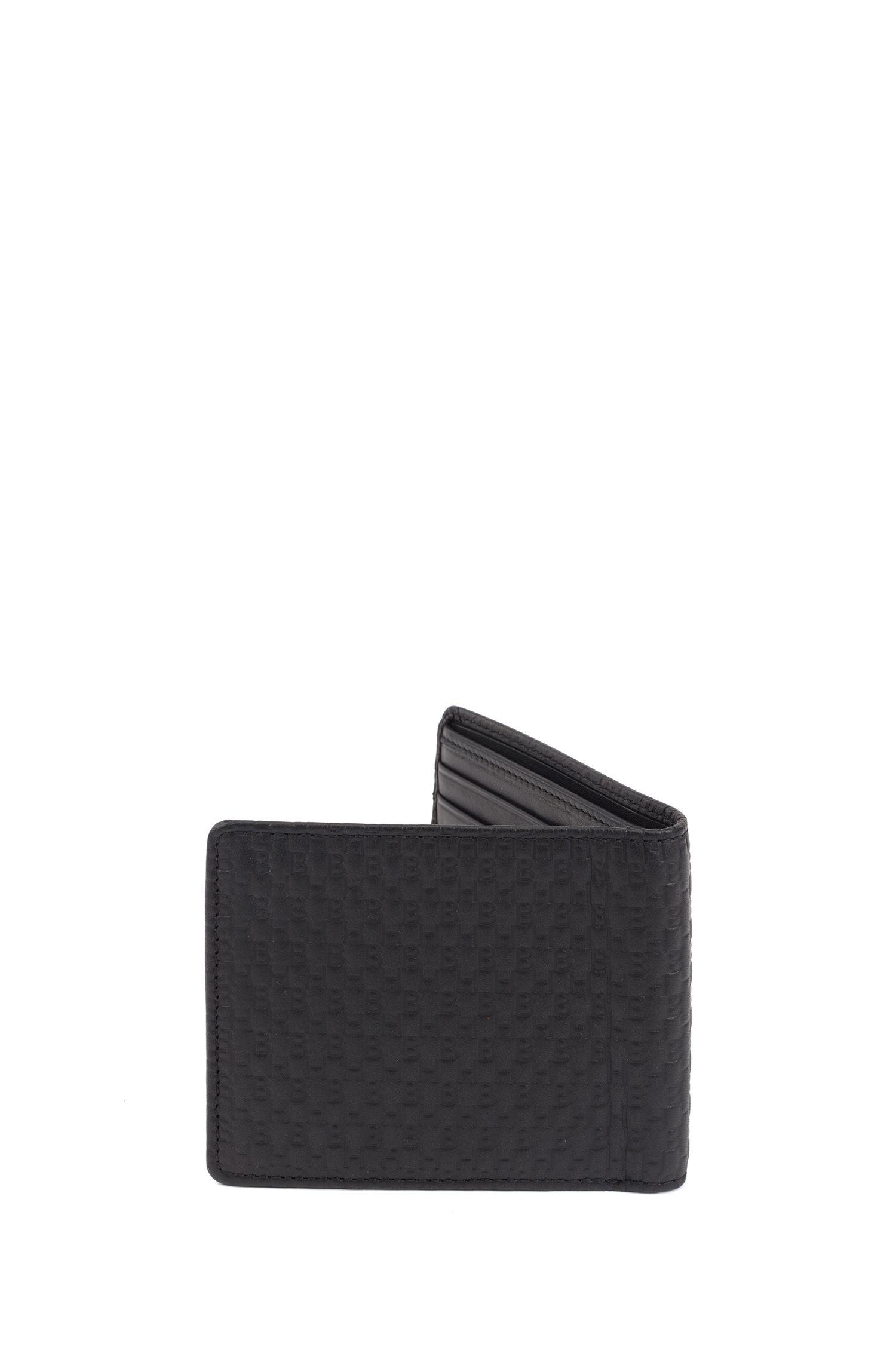 Billfold wallet in monogram-printed Italian leather, Black