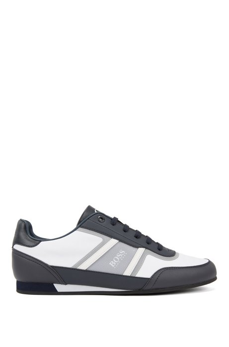 Low-profile sneakers with thermo-bonded details, Open Blue