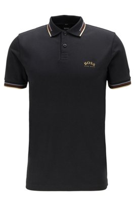 Slim-fit polo shirt in stretch piqué with curved logo, Dark Grey