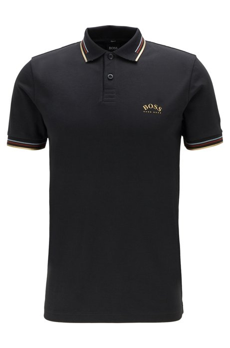 Slim-fit polo shirt in stretch piqué with curved logo, Charcoal