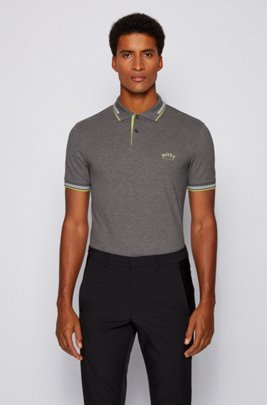 Slim-fit polo shirt in stretch piqué with curved logo, Grey
