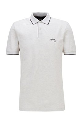 Slim-fit polo shirt in stretch piqué with curved logo, Light Grey