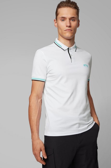 Slim-fit polo shirt in stretch piqué with curved logo, Natural