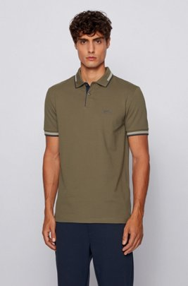 Slim-fit polo shirt in stretch piqué with curved logo, Dark Green