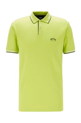 Slim-fit polo shirt in stretch piqué with curved logo, Green
