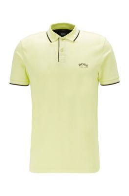 Slim-fit polo shirt in stretch piqué with curved logo, Light Green