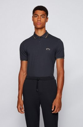 Slim-fit polo shirt in stretch piqué with curved logo, Dark Blue