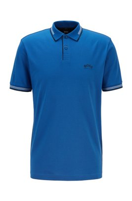 Slim-fit polo shirt in stretch piqué with curved logo, Light Blue