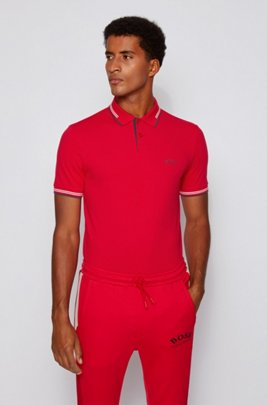 Slim-fit polo shirt in stretch piqué with curved logo, Red