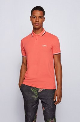 Slim-fit polo shirt in stretch piqué with curved logo, Light Red