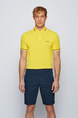 Slim-fit polo shirt in stretch piqué with curved logo, Yellow