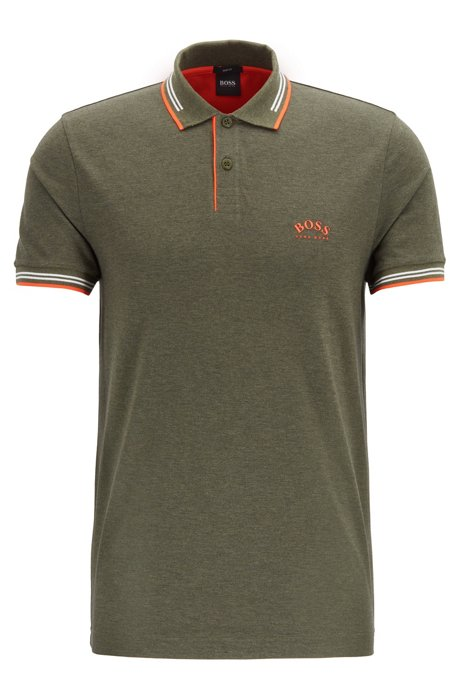 Slim-fit polo shirt in stretch piqué with curved logo, Orange
