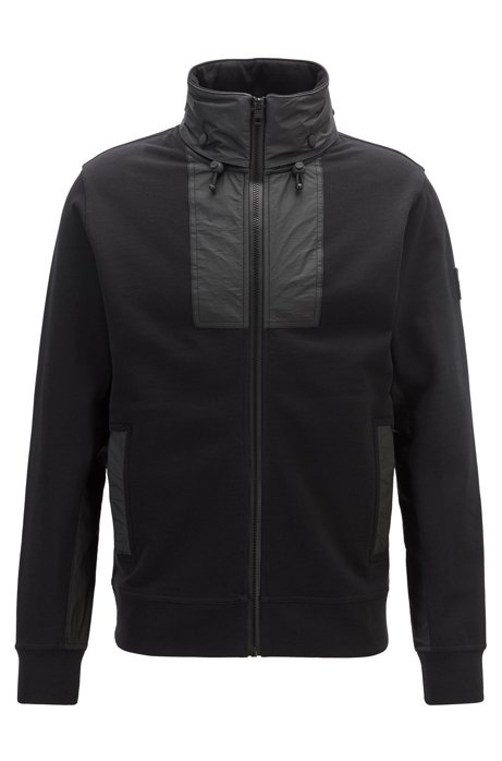 Relaxed-fit jersey jacket with packable Tyvek® hood, Black