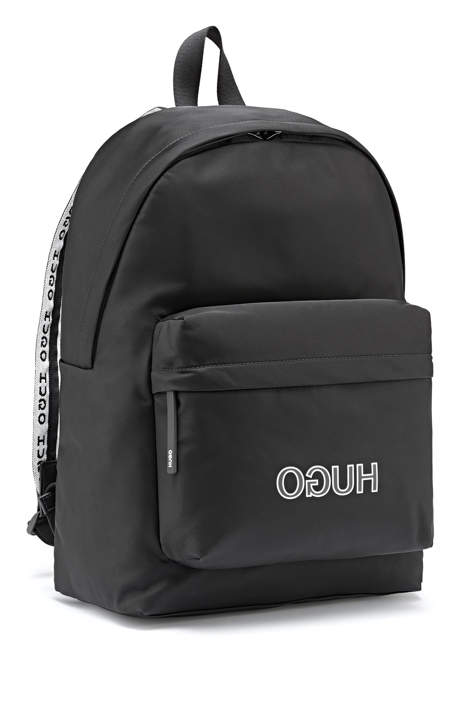 Logo-strap backpack in nylon gabardine, Black