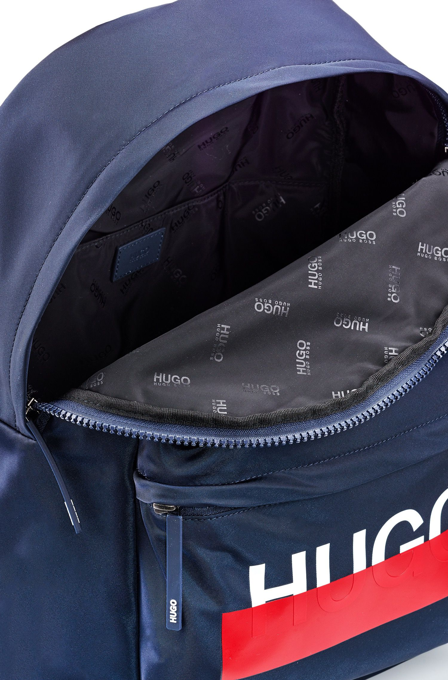 Backpack in nylon gabardine with partially concealed logo, Dark Blue