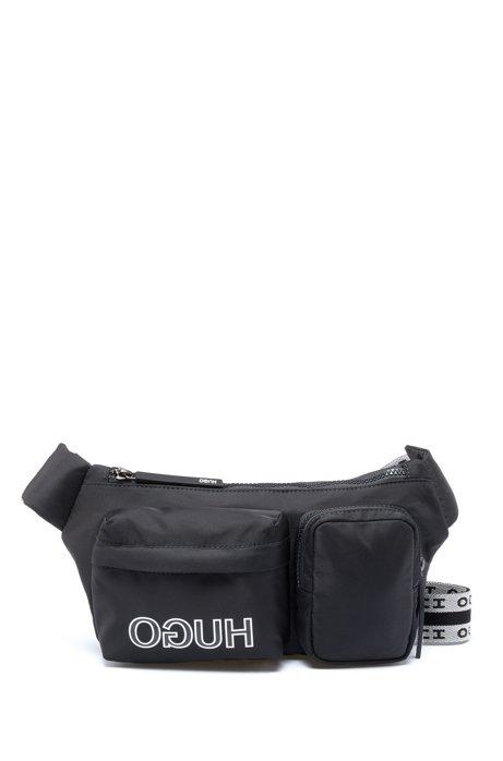 Adjustable belt bag in nylon gabardine with reversed logo, Black