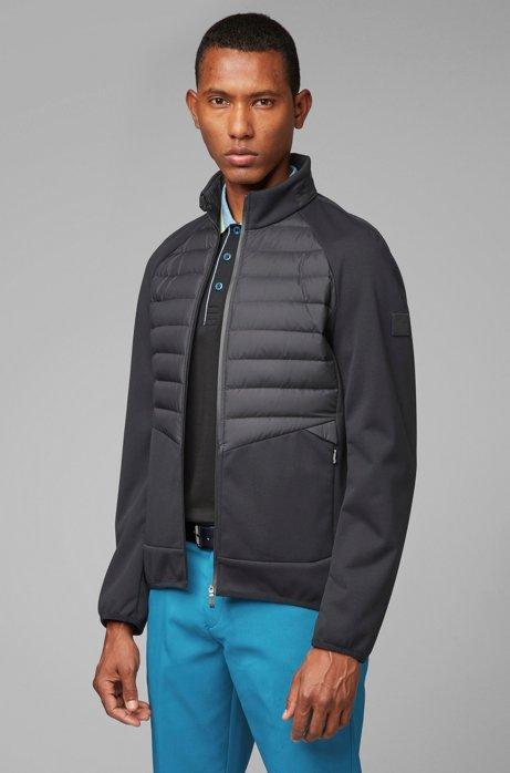 Slim-fit golf jacket with down-filled panels, Black