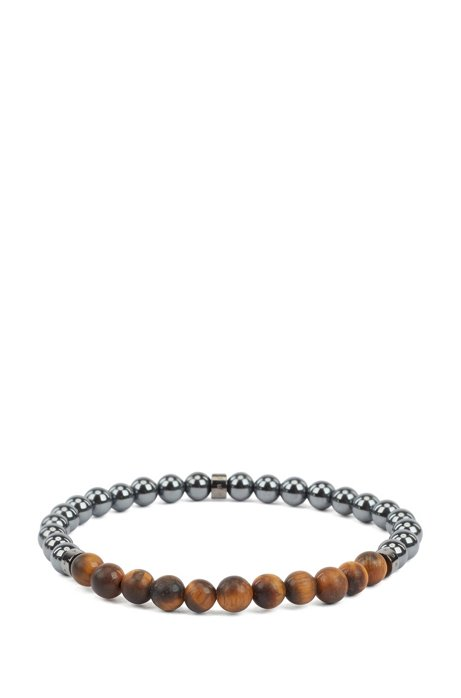 Italian-made cuff with hematite and tiger's-eye beads, Dark Grey